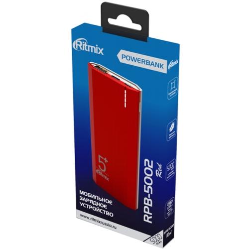 Внешний аккумулятор powerbank Ritmix, RPB-5002, 5000 мА-ч, 2(USB плюс  Type C), 2.1А, красный