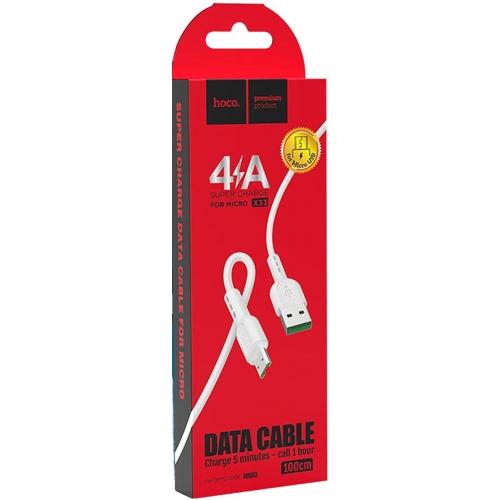Кабель микро USB*2.0 Am-microB Hoco X33 Surge 4A White, белый - 1 метр