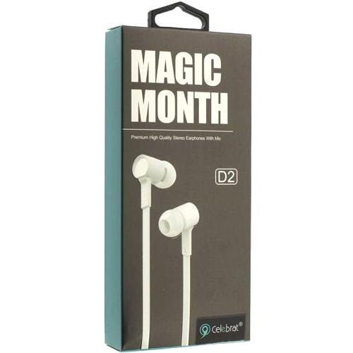 Наушники вкладыши с микрофоном Celebrat D2 Magic Month White мобильная гарнитура, белые