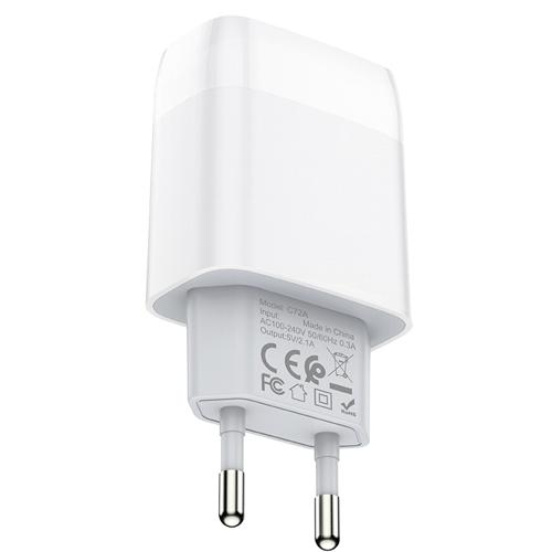 Сетевой адаптер питания Hoco C72A White зарядка 2.1А USB-порт, белый