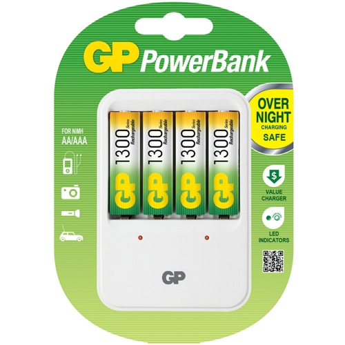 Зарядное устройство GP PowerBank 420GS АА, ААА  плюс  4 аккумулятора AA 1300mAh
