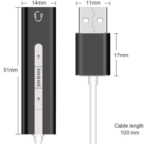Аудио адаптер USB на гнездо 3.5мм Orient AU-04PLB, чёрный