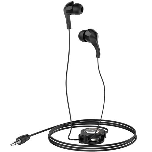 Наушники вкладыши Hoco M68 Easy Clip Black, кабель на катушке, черные