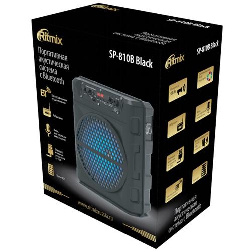 Колонка портативная Ritmix SP-810B,12Вт, bluetooth, MP3, FM, аккумулятор 1800мАч,динамическая подсветка - чёрные