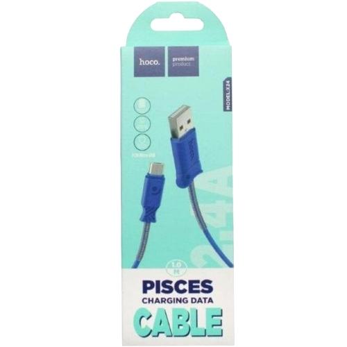 Кабель USB*2.0 Am-microB Hoco X24 Blue, синий - 1 метр