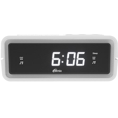 Электронные часы радиоприёмник Ritmix RRC-606, цифры 15мм,  FM, 220В, корпус белый