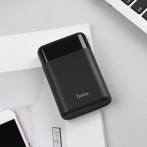 Внешний аккумулятор powerbank Hoco, B35B Entourage Black, 2 порта USB, 2.1А, 8000 мАч, индикатор заряда, черный