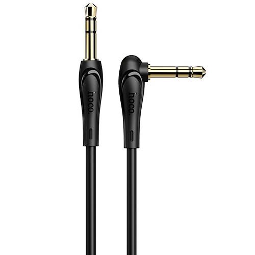 Аудио кабель штекер-штекер 3.5 мм, Hoco UPA14 Black, угловой, черный - 2 метра