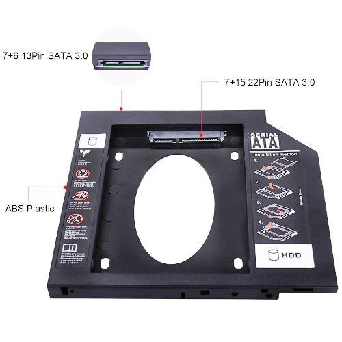 Шасси для 2.5 SATA SSD-HDD в отсек оптического привода ноутбука 9 мм Orient UHD-2SC9PL пластик