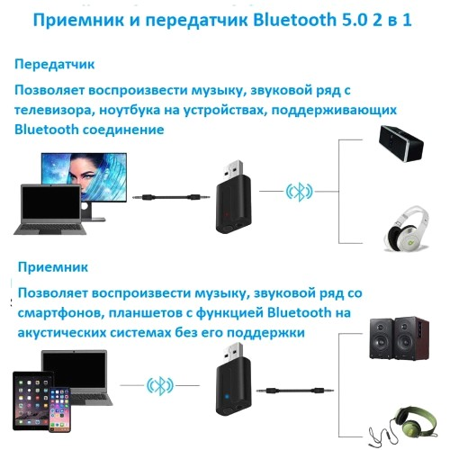 Адаптер USB - Bluetooth 5.0 KS-is KS-409  плюс  прием передача аудиосигнала на гнездо 3.5 мм до 20 метров