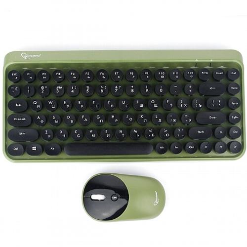 Беспроводная клавиатура и мышь комплект usb Gembird KBS-9001 2.4ГГц 78кл. ретро-машинка черно-зеленая