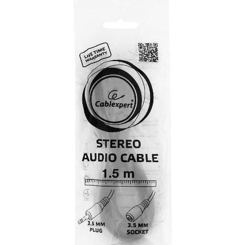 Аудио кабель штекер-гнездо 3.5 мм удлинитель Cablexpert CCA-423 черный 1.5 метра