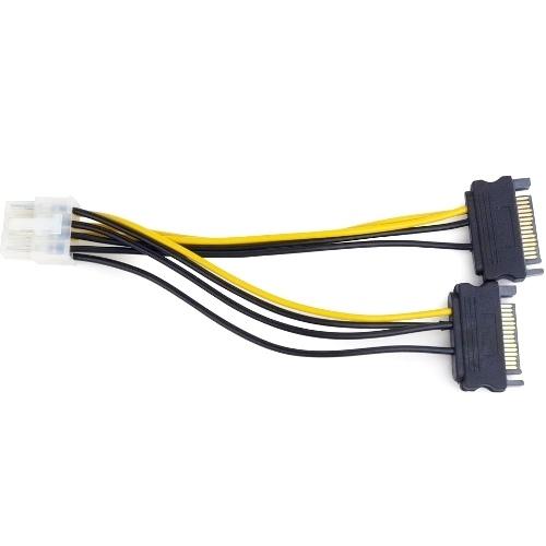PCI-Express переходник питания видеокарты 8-контактный(6 плюс 2) на 2 SATA штекер CC-PSU-83