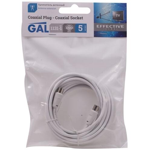 Кабель антенный удлинитель GAL 1131-1 гнездо-штекер - 5м белый