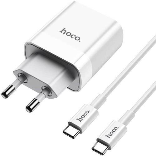 Сетевой адаптер питания Hoco C80A White зарядка 3.1А QuickCharge3.0  плюс  PD 18W 2 порта  плюс  кабель USB-C, белый