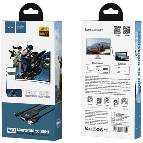 Видео адаптер MHL Apple Lightning на HDMI переходник для ТВ, питание от USB Hoco UA14, 1080p, черный,  кабель 2 метра