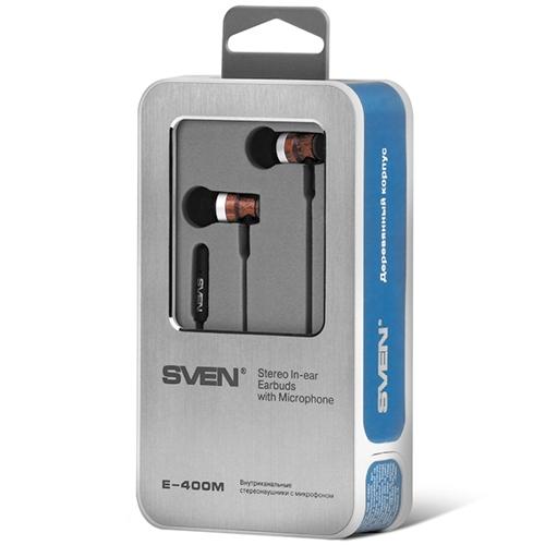 Наушники вкладыши с микрофоном Sven E-400M, мобильная гарнитура, дерево