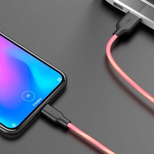 Кабель USB*2.0 Cm-Am Hoco X21 Plus Fluorescent Silicone Red, силиконовый, флуоресцентный, красный - 1 метр