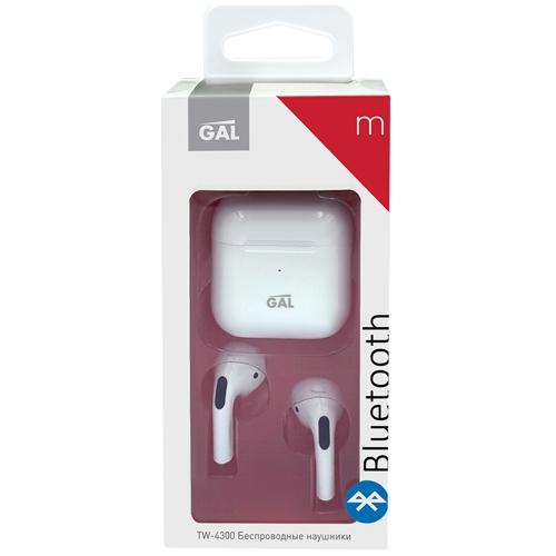 Bluetooth наушники вкладыши с микрофоном GAL TW-4300, TWS, V5, беспроводная мобильная гарнитура, белые