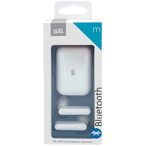 Bluetooth наушники вкладыши с микрофоном GAL TW-4500, TWS, V5, беспроводная мобильная гарнитура, белые