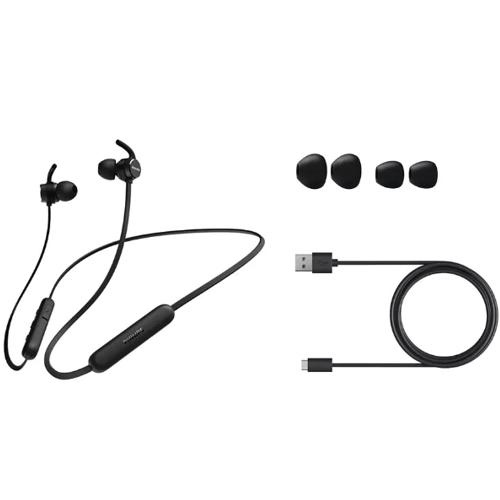 Наушники вкладыши с микрофоном Philips TAE1205BK-00 , мобильная гарнитура, чёрные