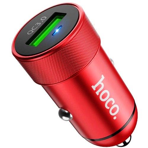 Автомобильный адаптер питания Hoco Z32 Red зарядка 3.4А QuickCharge QC3.0 18W 1 USB-порта, красный