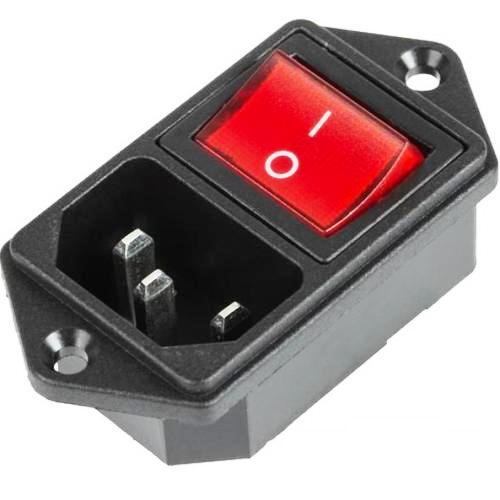 Выключатель клавишный 250 V 6 А (4с) ON-OFF красный с подсветкой и штекером C14 3PIN Rexant