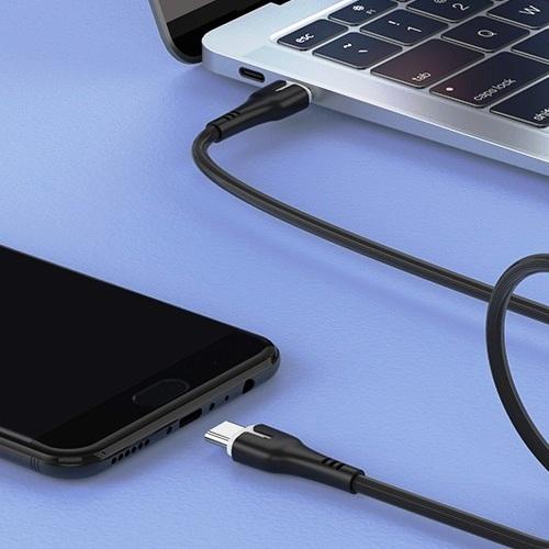Кабель USB Cm-Cm Hoco X45 3A Super Fast PD 60W, подходит для зарядки ноутбуков 20В, черный - 1 метра
