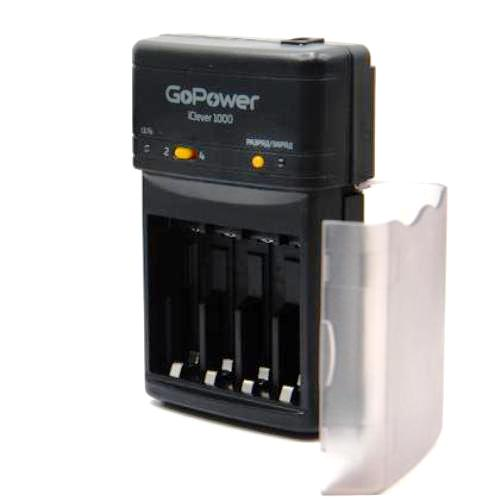 Зарядное устройство GoPower iClever 1000, с дополнительной автозарядкой, 4 слота Ni-MH-Ni-Cd