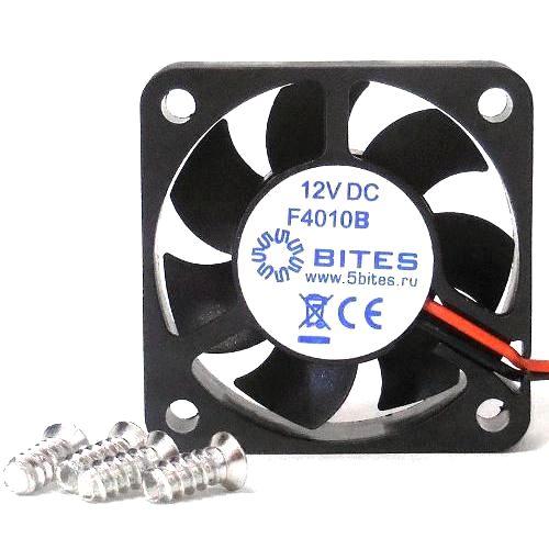Вентилятор 40 x 10мм 5Bites F4010B-12L3 12V подшипник качения 3pin 15см 6000 об*мин