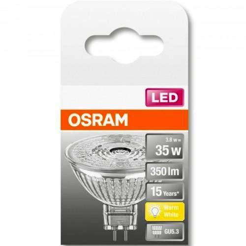 Лампа OSRAM LED Star GU5.3 MR16 12В 5Вт, светодиодная LED, 350 лм, эквивалент 35Вт, тёплый свет 3000К, прозрачная
