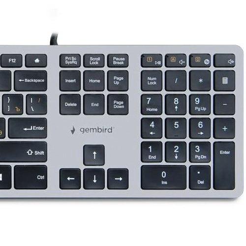 Клавиатура Gembird KB-8420 109кл, мультимедиа, ножничный механизм, бесшумная, каб. 1.5м