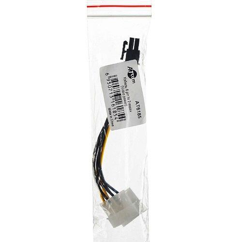 Переходник питания для видеокарт AT6185 PCI-Express 6-контактный на 2 Molex штекер, кабель - 15см