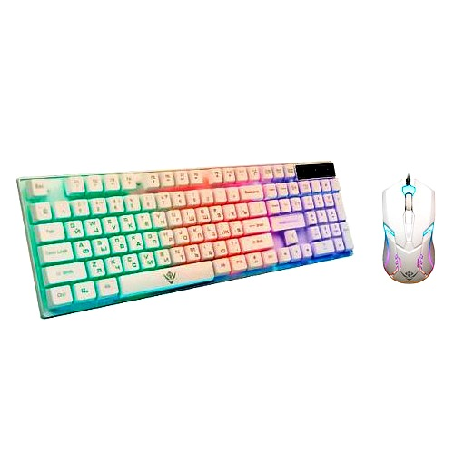 Клавиатура и мышь игровые Nakatomi KMG-2305U White Gaming проводной комплект - белый