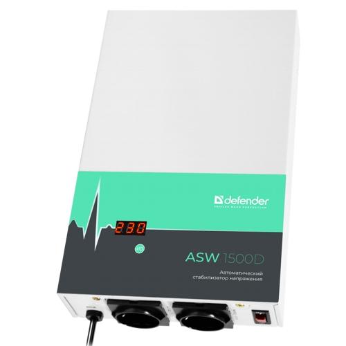 Стабилизатор напряжения Defender ASW 1500D настенный 900 Вт, толщина 65 мм  2 розетки