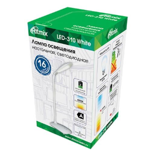 Настольная лампа Ritmix  LED-310  16LED.3Вт, питание от USB плюс встроенный акк.1200 мАч (5часов), кабель 1.5 м,белая
