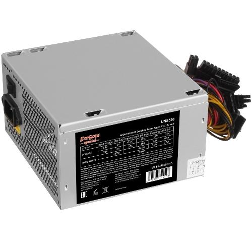 Блок питания Exegate UNS550 550Вт ATX 2.3 12 см, 20 плюс 4 pin, 6 плюс 2pin PCI-E, 3 SATA, 2 Molex, FDD