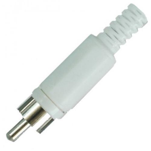 Штекер RCA Premier 1-200 WT разъём на кабель под пайку пластиковый кожух белый