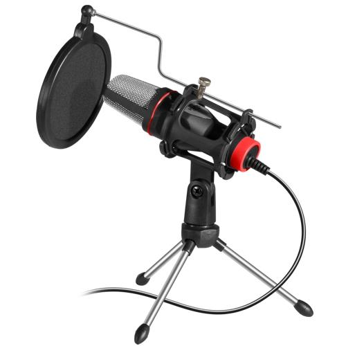 Микрофон игровой Defender Forte GMC 300 на подставке, проводной .Складная тренога и поп-фильтр в комплекте