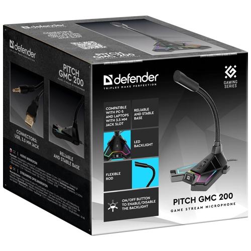 Микрофон игровой Defender Pitch GMC 200  на подставке, USB, 3.5-мм джек.светодиодная подсветка. каучуковая основа