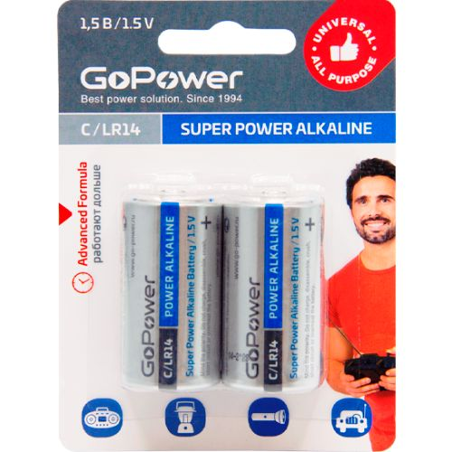 Батарейка C щелочная GoPower LR14  в блистере 2шт.