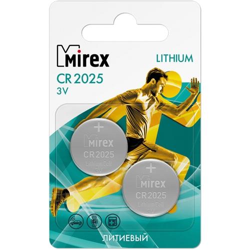 Батарейка CR2025 3В литиевая Mirex в блистере 2 шт.