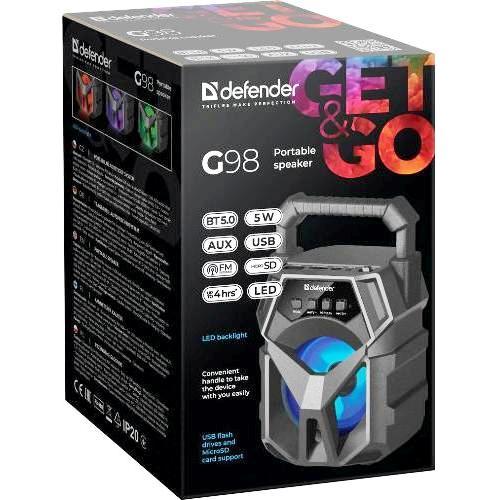 Колонка портативная Defender G98 bluetooth 5.0 аудиосистема - 5 Вт, FM, плеер - черный