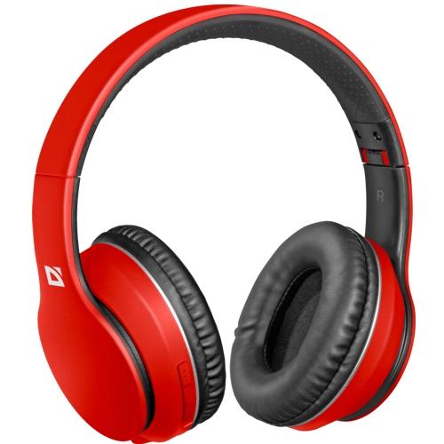 Bluetooth наушники с микрофоном Defender B580 FreeMotion, беспроводная полноразмерная гарнитура,красная